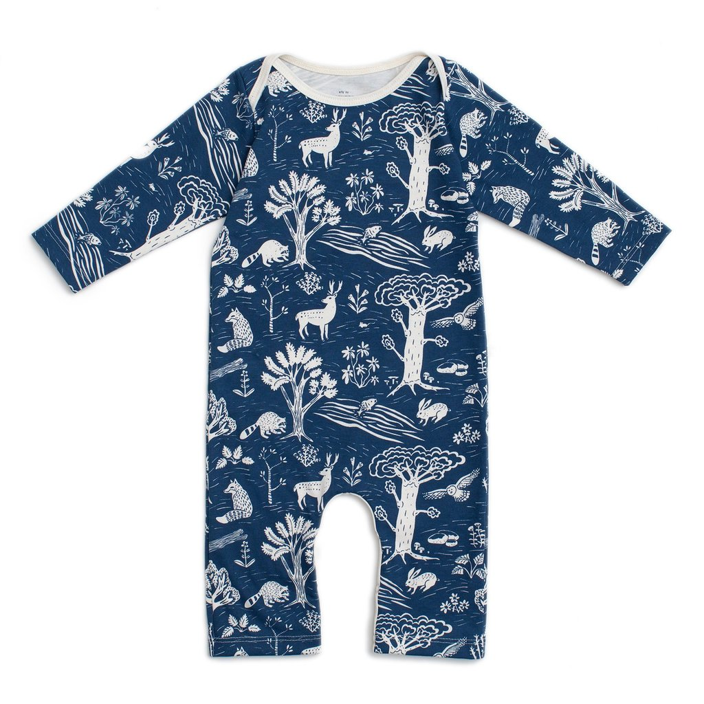 Winter Water Factory Navy Forest Long Sleeve Romper