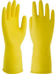 Small Yellow Latex Reusable Glove; Flock-lined