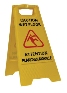 PERFORME Bilingual Wet Floor Sign; 2-Sided; Yellow.