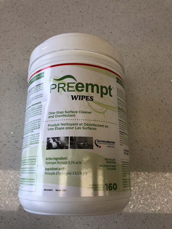 PREempt Wipes. One step surface cleaner and disinfectant, with Hydrogren Peroxide 160 wipes per container