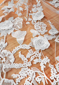 Ivory 3D Flower Embroidery lace fabric