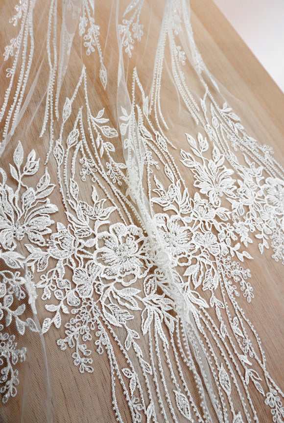 3D Beads Sequins Embroidery Lace off White