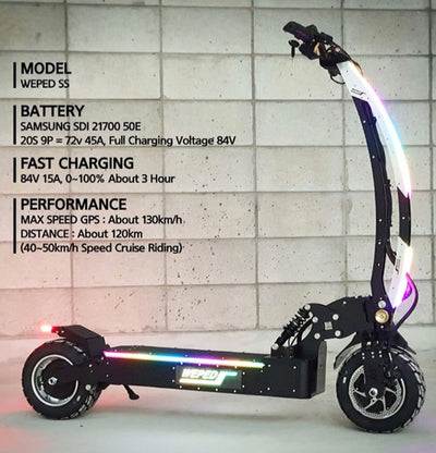 Weped Electric Scooters Model SS Specs