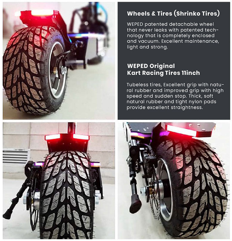 Weped wheels and tires specs