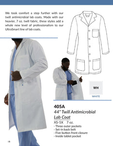 "44"" Twill Antimicrobial Labcoat w/ Tablet Pocket"