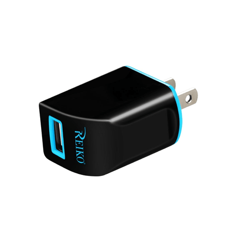 REIKO 1 AMP DUAL COLOR PORTABLE TRAVEL USB ADAPTER CHARGER IN NAVY BLACK