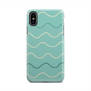 Green and White Squiggly Line Wave Case