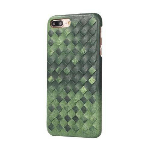 Green Woven Leather iPhone Case