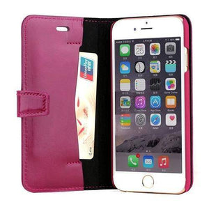 Glossy Genuine Leather iPhone Wallet Case
