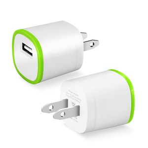 REIKO 1 AMP DUAL COLOR PORTABLE USB TRAVEL ADAPTER CHARGER IN GREEN WHITE