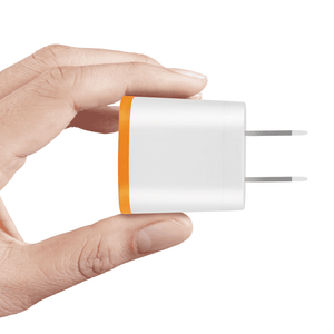 REIKO 1 AMP DUAL COLOR PORTABLE USB TRAVEL ADAPTER CHARGER IN ORANGE WHITE