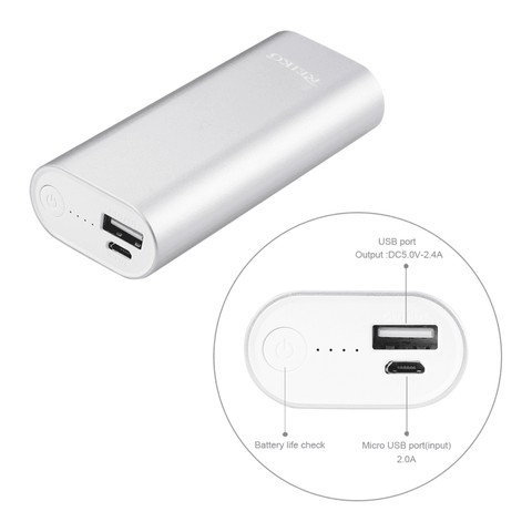 REIKO 2A5V 4800MAH UNIVERSAL POWER BANK WITH MICRO CABLE IN SILVER
