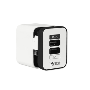 REIKO 2 AMP DUAL PORT PORTABLE TRAVEL ADAPTER CHARGER IN BLACK