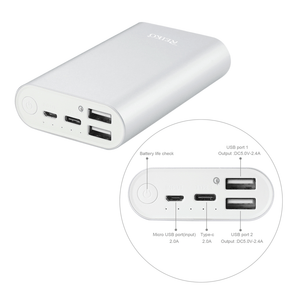 Reiko Silver Universal Power Bank with Dural Output Port