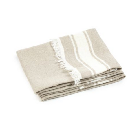 Belgian Hand Towel in Flax Stripe