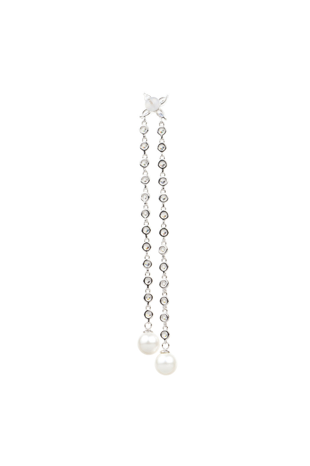 Double Chain Wedding Shell Pearl Silver Drop Earrings