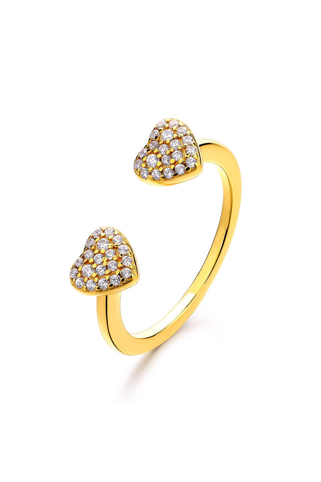 Emoji Love Heart Eyes Gold Plated Silver Ring