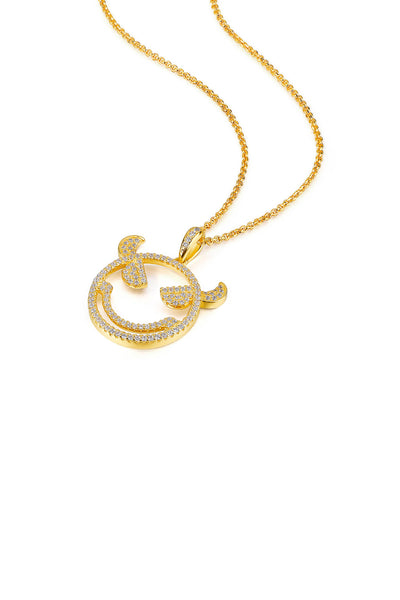 Emoji Evil Monster Gold Plated Silver Necklace Side View