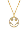 Emoji Happy Mood Gold Plated Silver Necklace Detail