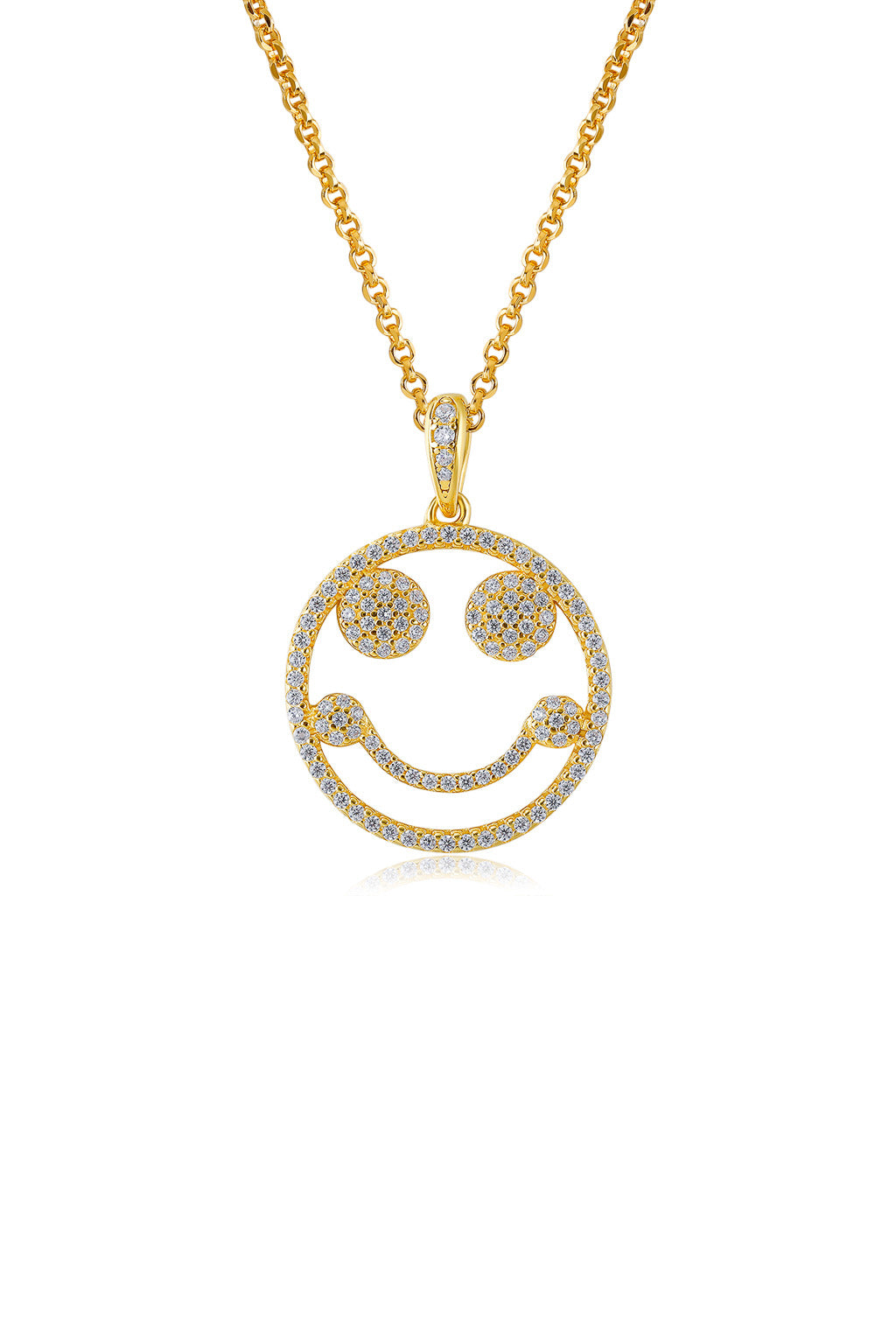 Emoji Happy Mood Gold Plated Silver Necklace