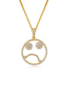 Emoji Monday Blue Gold Plated Silver Necklace