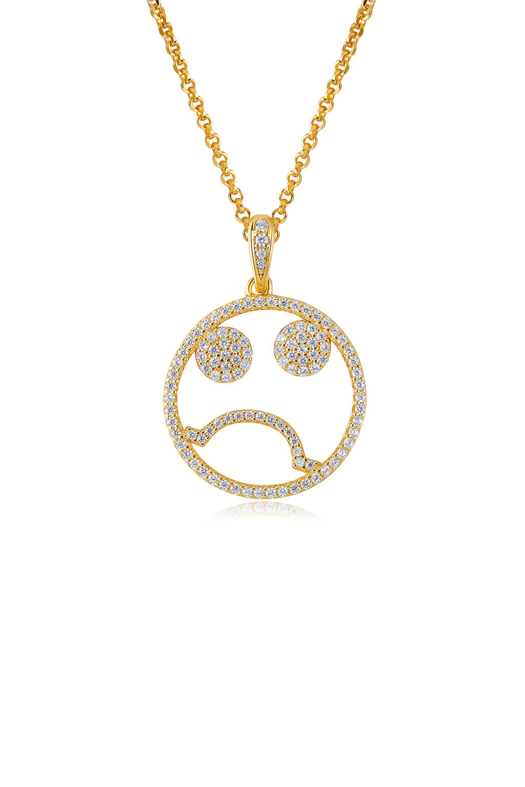 Emoji Monday Blue Gold Plated Silver Necklace Detail
