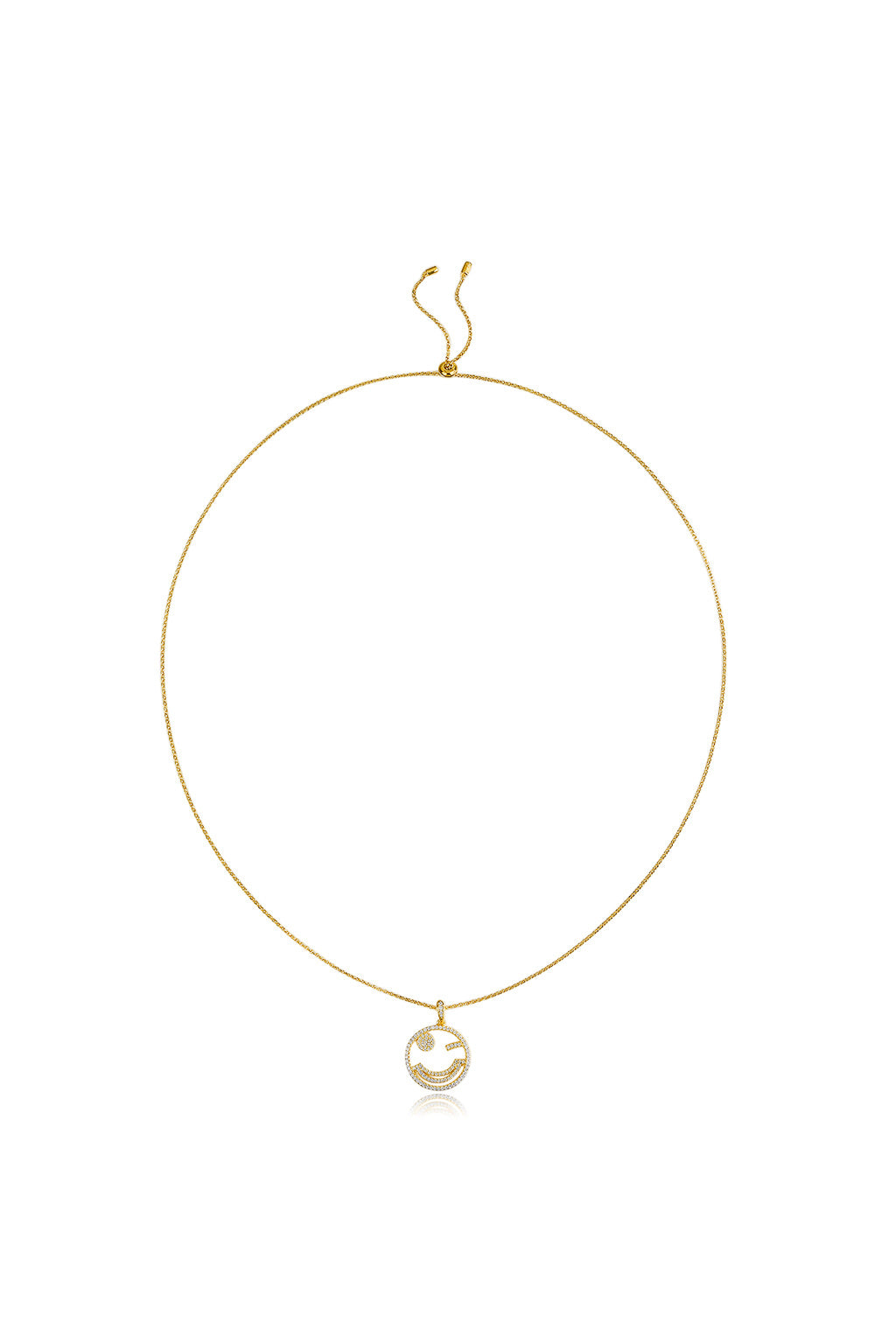 Emoji Naughty Wink Gold Plated Silver Necklace Detail