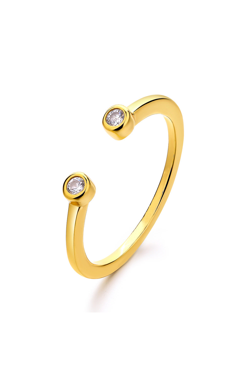Emoji Petit Eyes Gold Plated Silver Ring