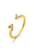 Emoji Winky Eyes Gold Plated Silver Ring