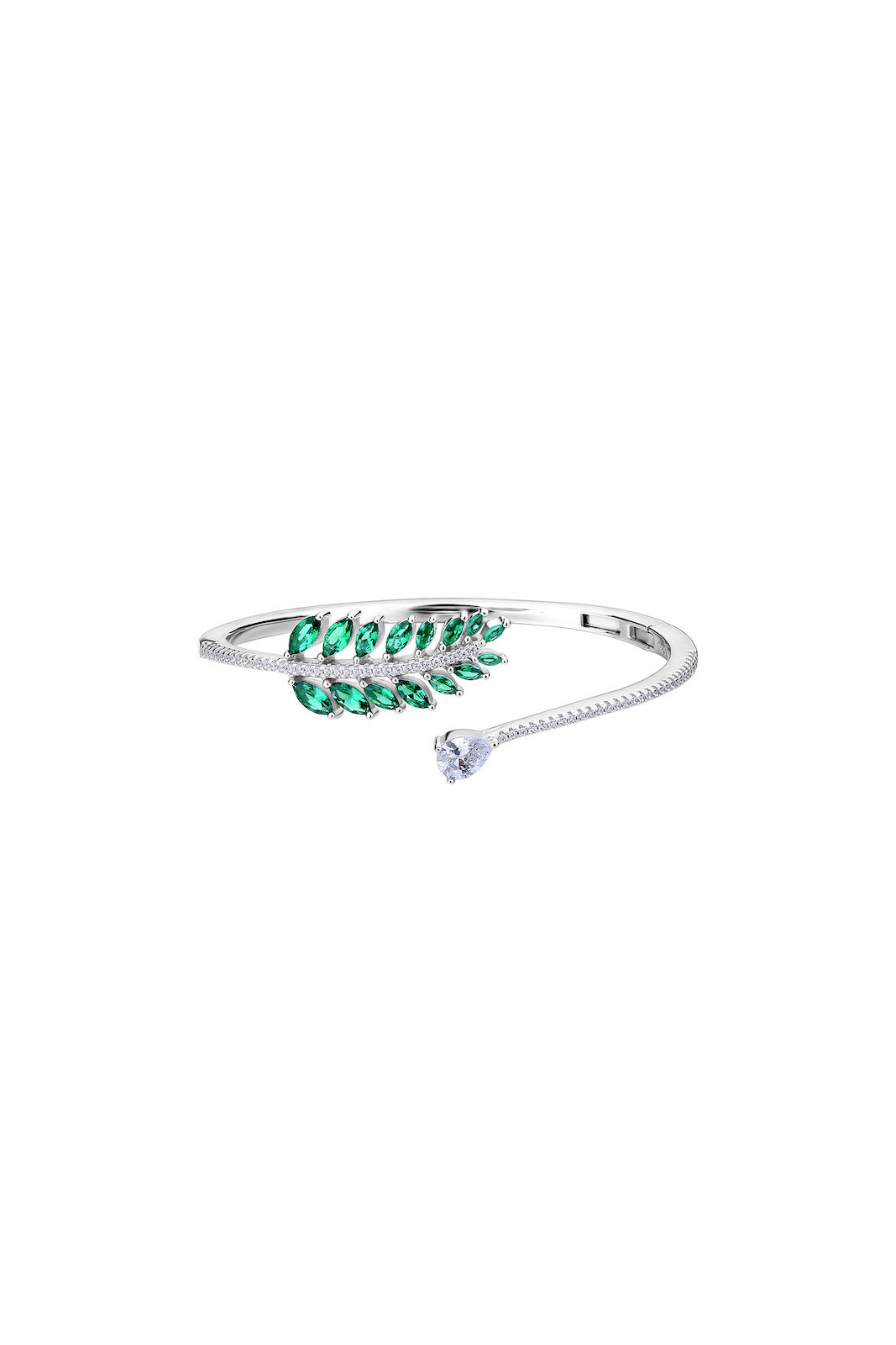Falling Leaves Emerald Green Silver CZ Bangle