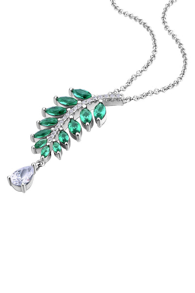 Falling Leaves Emerald Green Silver Statement Necklace Detail