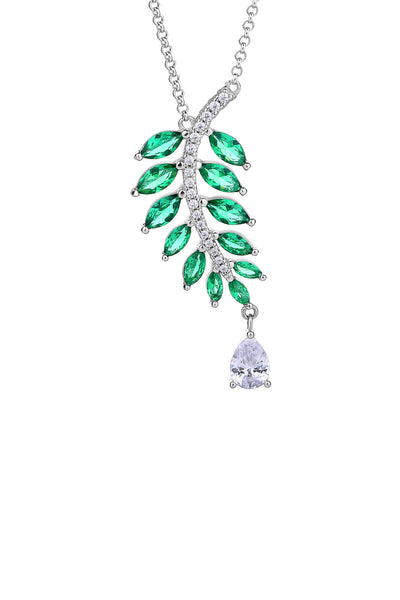 Falling Leaves Emerald Green Silver Statement Necklace