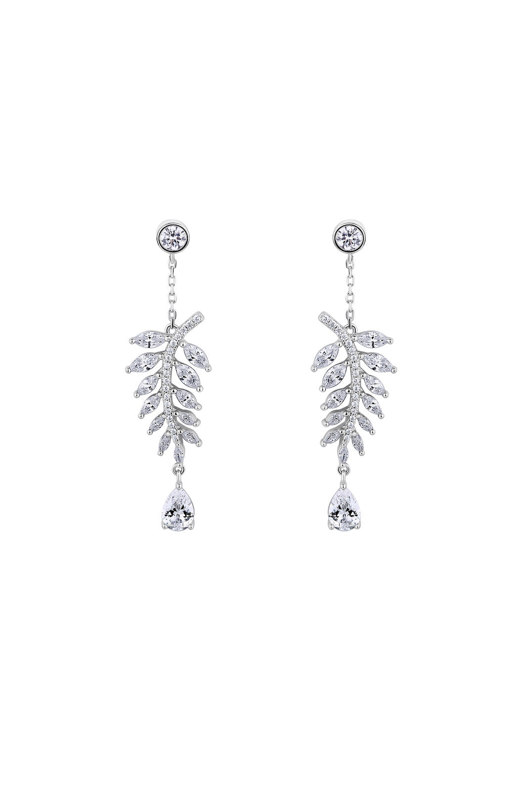 Falling Leaves White Sparkle Silver Drop Earrings