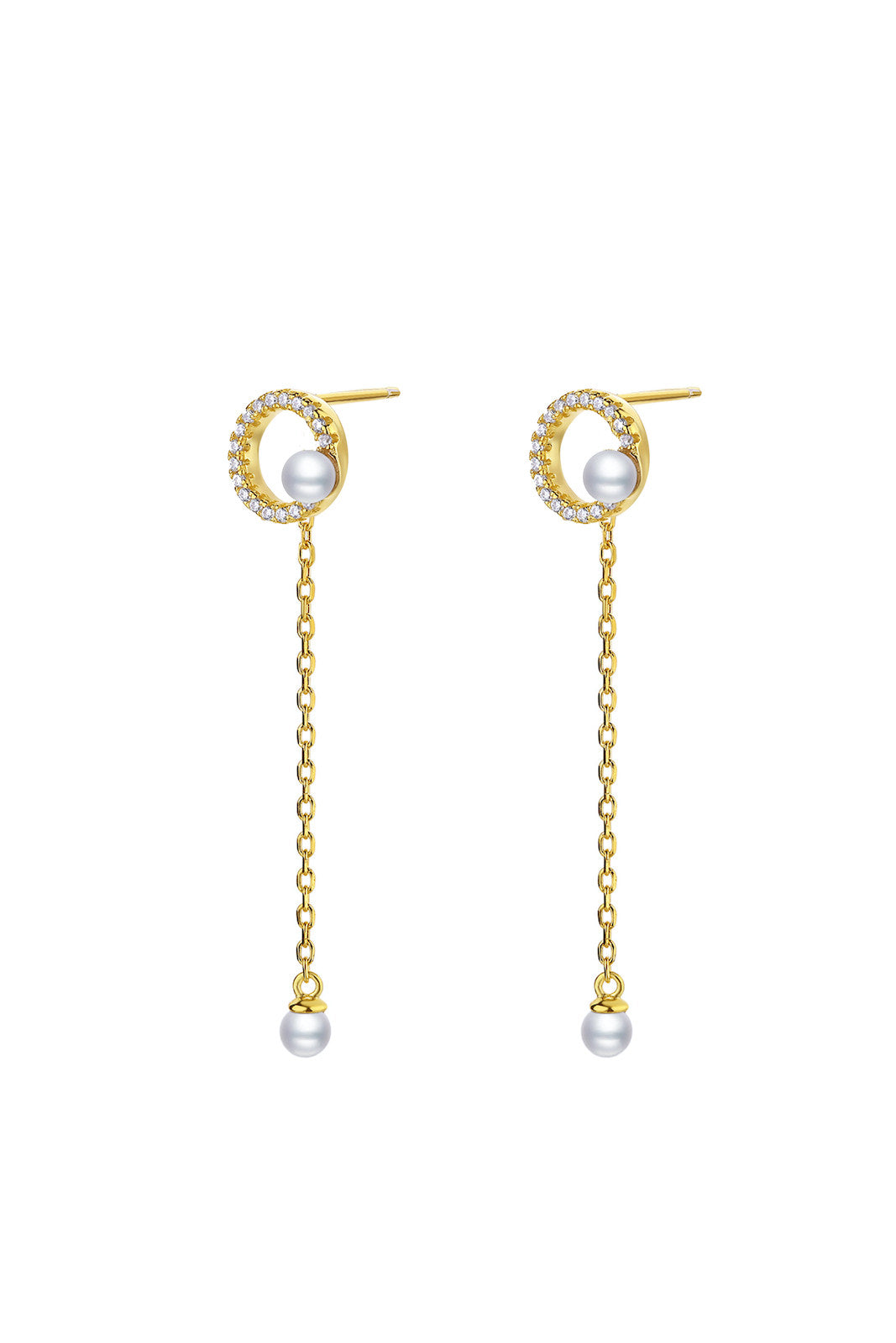 Gold Plated Geometrical Silver Earrings - Mini Circle