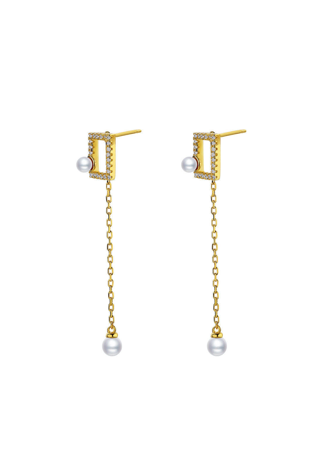 Gold Plated Geometrical Silver Earrings - Mini Rectangle
