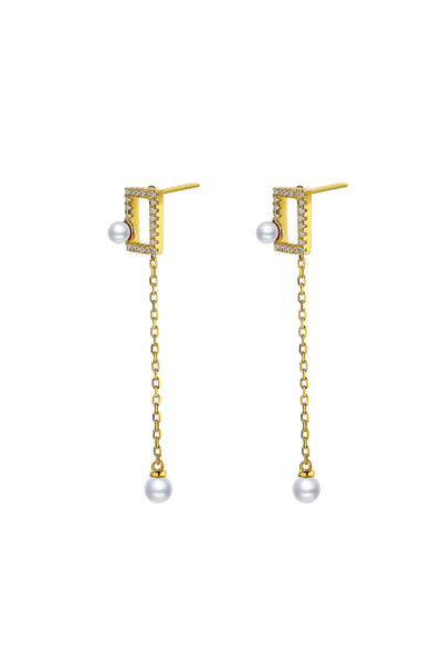 Gold Plated Geometrical Silver Earrings - Mini Rectangle Detail
