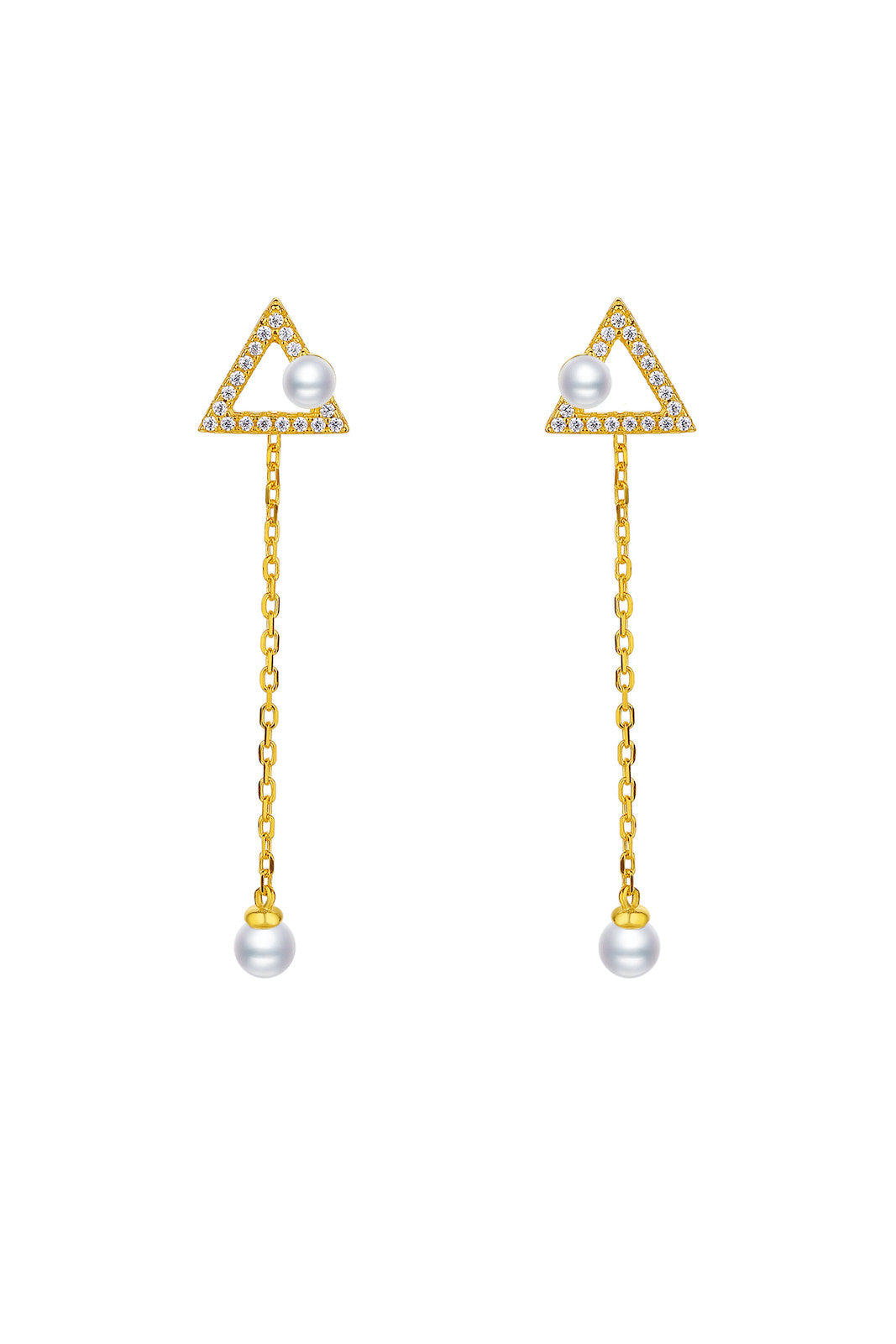 Gold Plated Geometrical Silver Earrings - Mini Triangle