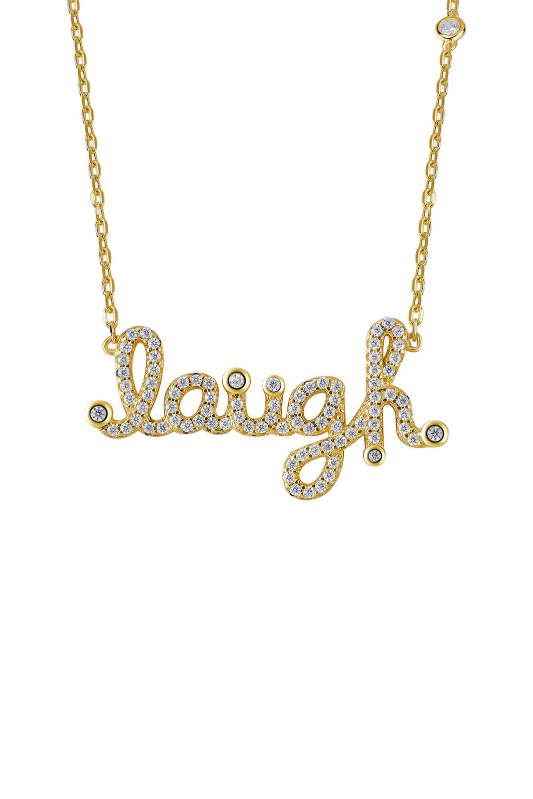 Gold Plated Silver Laugh Sign Adjustable Necklace Side View