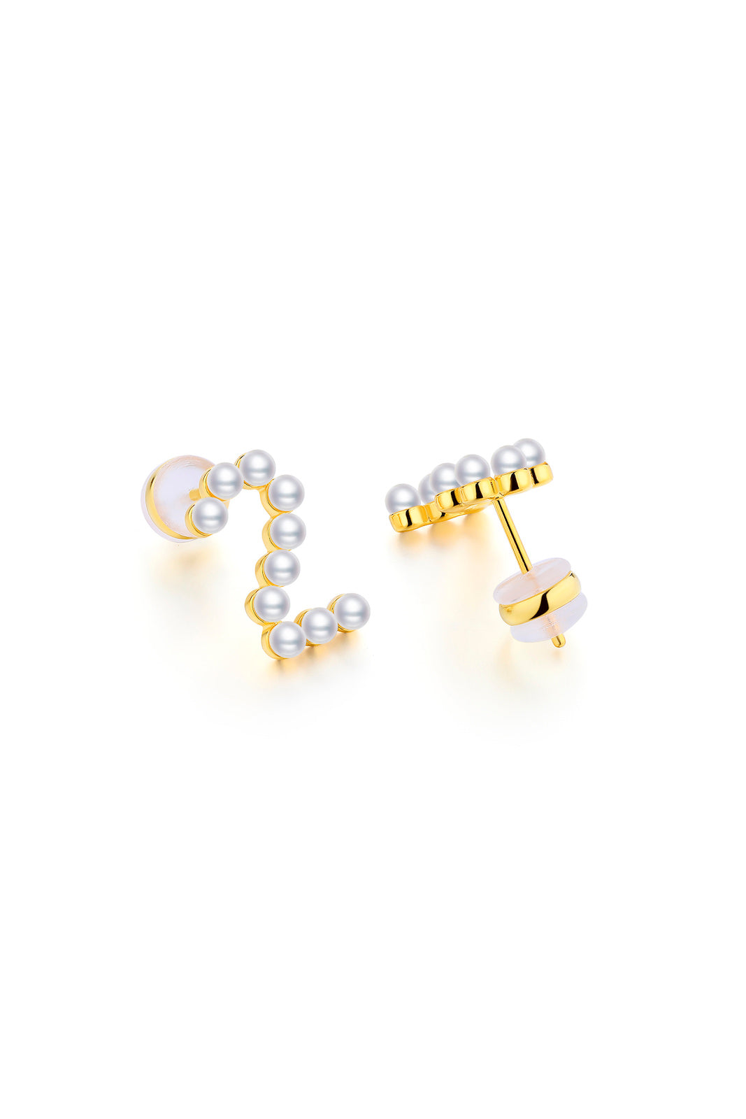 Gold Plated Silver Pearl Ear Studs - Number 2 Back View