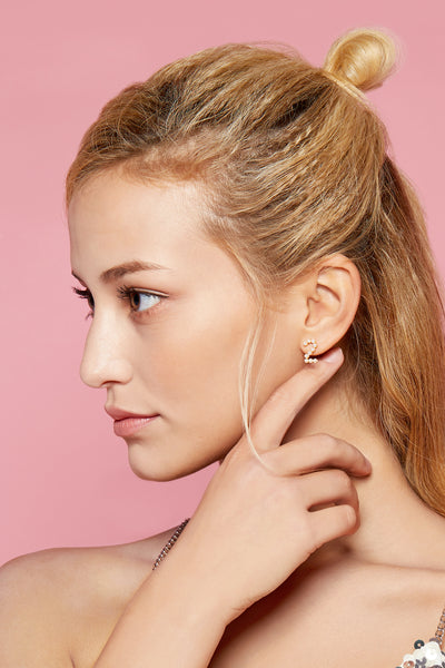 Gold Plated Silver Pearl Ear Studs - Number 2 on Model Style