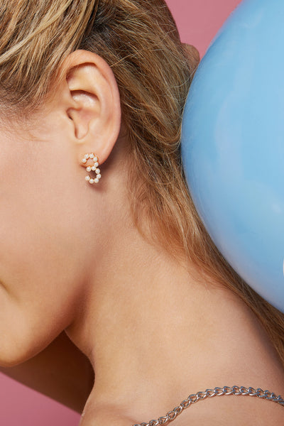 Gold Plated Silver Pearl Ear Studs - Number 3 on Model Style 3