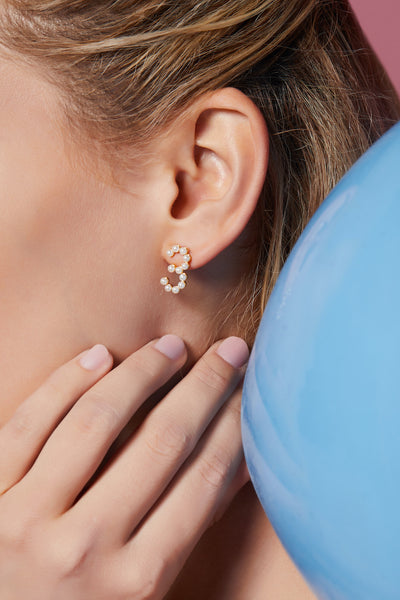 Gold Plated Silver Pearl Ear Studs - Number 3 on Model