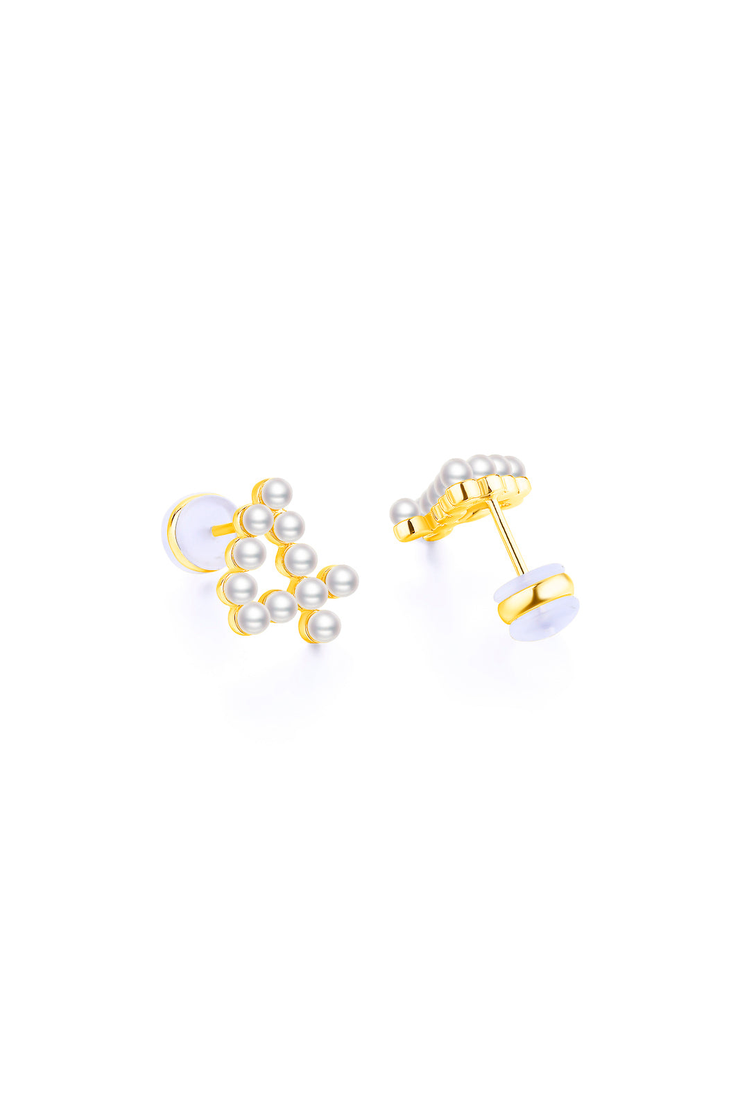 Gold Plated Silver Pearl Ear Studs - Number 4 Back View