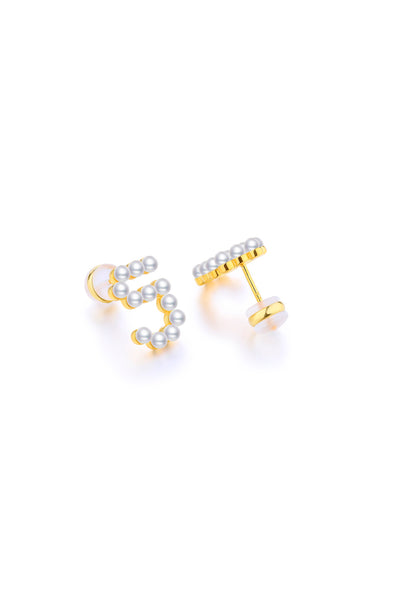 Gold Plated Silver Pearl Ear Studs - Number 5 on Back View