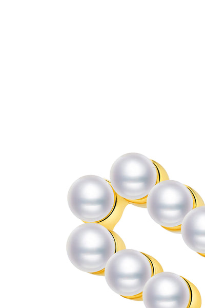 Gold Plated Silver Pearl Ear Studs - Number 5 Detail