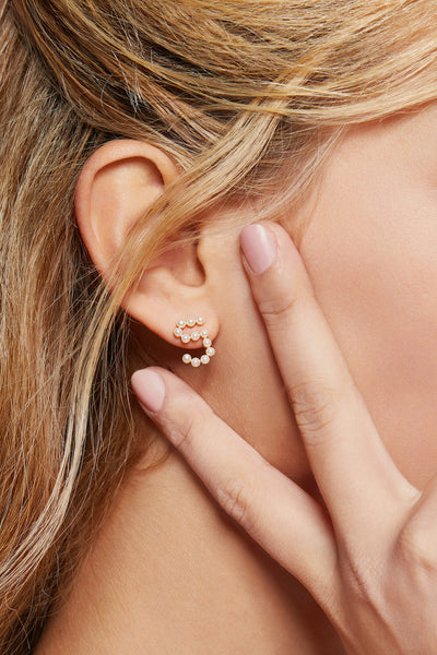 Gold Plated Silver Pearl Ear Studs - Number 5 on Model Style 3