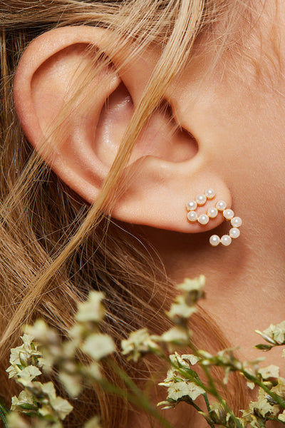 Gold Plated Silver Pearl Ear Studs - Number 5 on Model Style