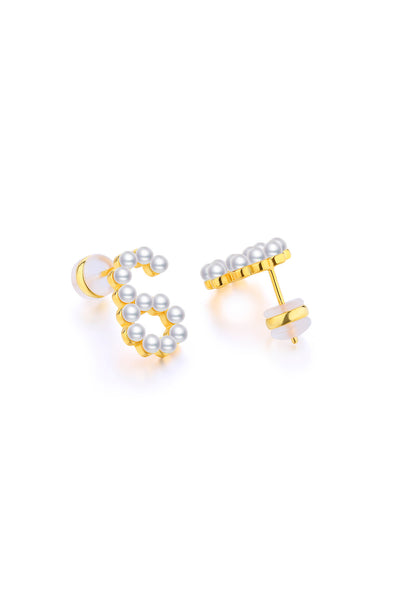Gold Plated Silver Pearl Ear Studs - Number 6 Back View