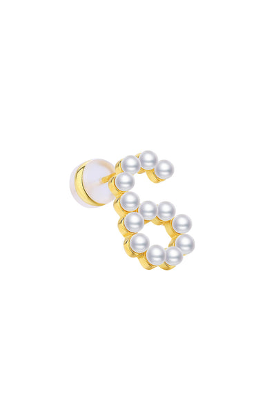 Gold Plated Silver Pearl Ear Studs - Number 6 Side View