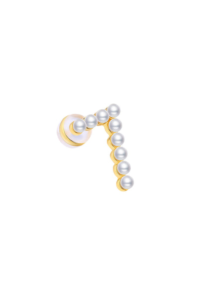 Gold Plated Silver Pearl Ear Studs - Number 7 Side View